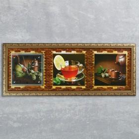 """Часы-картина настенные, серия: Кухня, """"Чайная церемония"""", 35х100  см, микс"""