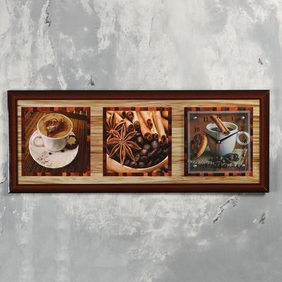 """Часы-картина настенные, серия: Кухня, """"Кофе с корицей"""", 35х100  см, микс"""