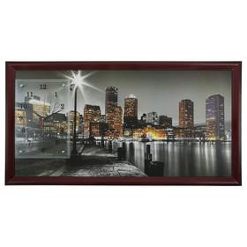 """Часы-картина настенные, серия: Город, """"Ночной Бостон"""", 50х100  см, микс"""