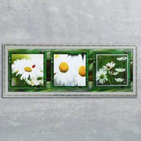 """Часы-картина настенные, серия: Цветы, """"Ромашки в поле"""", 35х100  см, микс"""