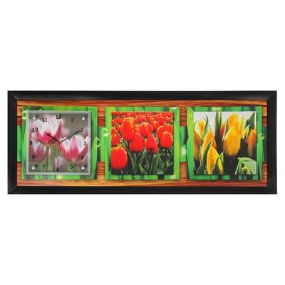"Часы-картина настенные, серия: Цветы, ""Тюльпаны"", 35х100  см, микс"