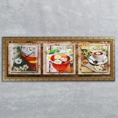 """Часы-картина настенные, серия: Цветы, """"Ромашковый чай"""", 35х100  см, микс"""