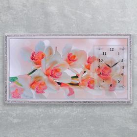 """Часы-картина настенные, серия: Цветы, """"Ветка орхидеи"""", 50х100  см, микс"""