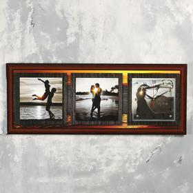 """Часы-картина настенные, серия: Люди, """"Влюбленные на закате"""", 35х100  см, микс"""