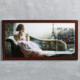 """Часы-картина настенные, серия: Люди, """"Рассвет в Париже"""", 50х100  см, микс"""