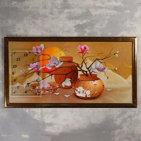 "Часы-картина настенные, серия: Цветы, ""Закат в пустыне"", 50х100  см, микс"