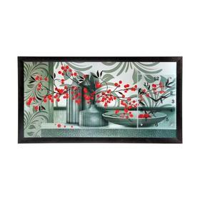 """Часы-картина настенные, серия: Кухня, """"Красные ягоды"""", 50х100  см, микс"""