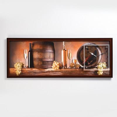 """Часы-картина настенные, серия: Интерьер, """"Винные бочки"""", 35х100  см, микс"""