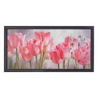 "Часы-картина настенные ""Розовые тюльпаны"", 50х100 см  микс"