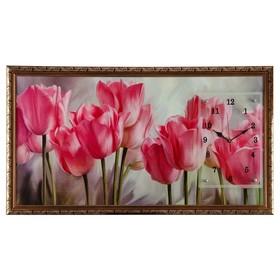 "Часы-картина настенные, серия: Цветы, ""Розовые тюльпаны"", 50х100  см, микс"