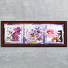 """Часы-картина настенные, серия: Цветы, """"Фиолетовые орхидеи"""", 35х100  см, микс"""