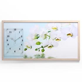 """Часы-картина настенные, серия: Цветы, """"Водная гладь и белые орхидеи"""", 50х100  см, микс"""