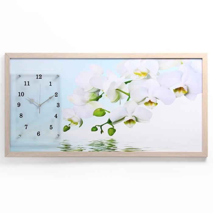 """Часы-картина настенные, серия: Цветы, """"Водная гладь и белые орхидеи"""", 50х100  см, микс - фото 1614772"""