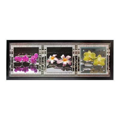"""Часы-картина настенные, серия: Цветы, """"Орхидеи, отражающиеся в воде"""", 35х100  см, микс"""