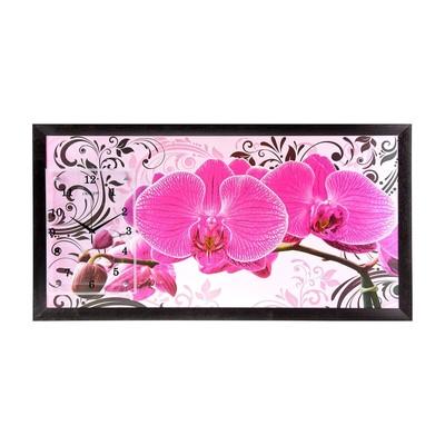 """Часы-картина настенные """"Розовые орхидеи с узором"""", 50х100 см, МИКС"""