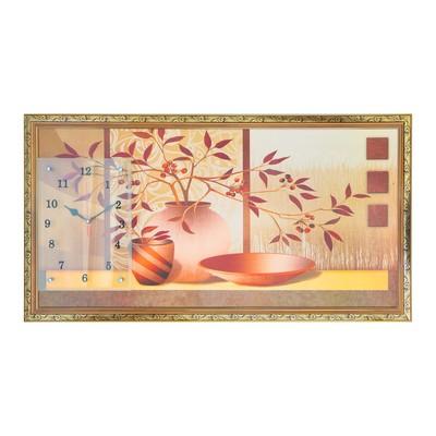 """Часы-картина настенные, серия: Интерьер, """"Две вазы с цветами и блюдо"""", 50х100  см, микс"""