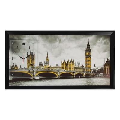 """Часы-картина настенные, серия: Город, """"Вестминстерский дворец"""", 50х100  см, микс"""