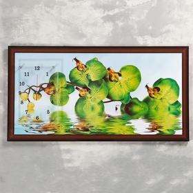 """Часы-картина настенные """"Зеленые орхидеи в воде"""", 50х100 см"""