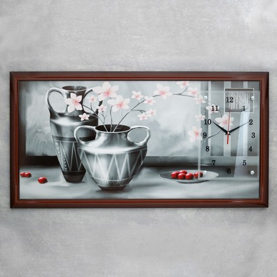 """Часы-картина настенные, серия: Цветы, """"Серые вазы"""", 50х100  см, микс"""