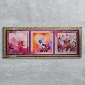 """Часы-картина настенные, серия: Цветы, """"Орхидея на желтом фоне"""", 35х100  см, микс"""