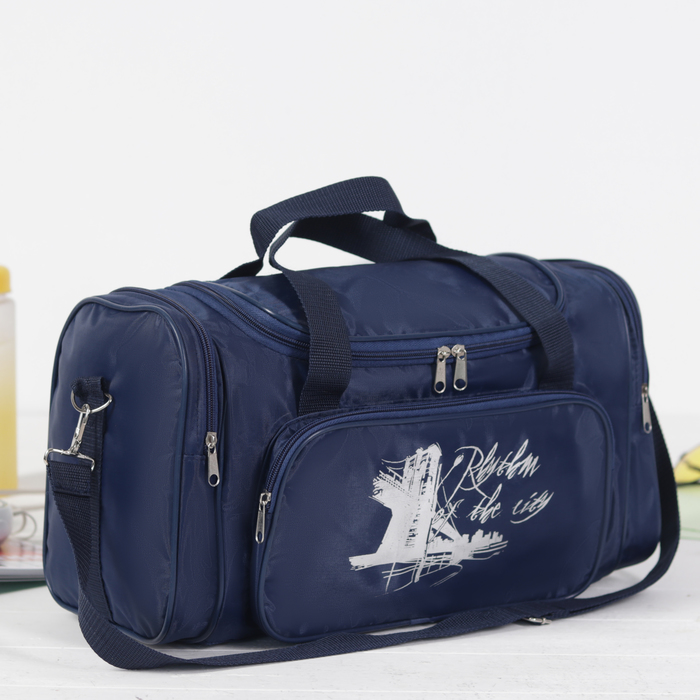 Сумка спортивная на молнии, 1 отдел, 3 наружных кармана, длинный ремень, рисунок МИКС, синяя