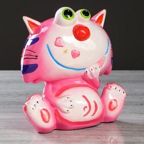 """Копилка """"Кот Томас"""", покрытие лак, розовая, 23 см, микс"""