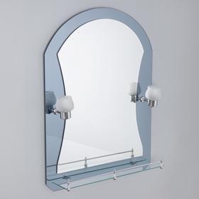 Зеркало в ванную комнату с подсветкой, двухслойное Ассоona, 80 × 60 см, A610, 1 полка