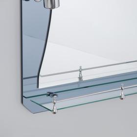 Зеркало в ванную комнату с подсветкой, двухслойное 80 × 60 см Ассоona A610, 1 полка
