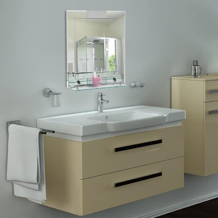 """Зеркало в ванную комнату, двухслойное 60×45 см """"Ассоona A617"""", 1 полка"""