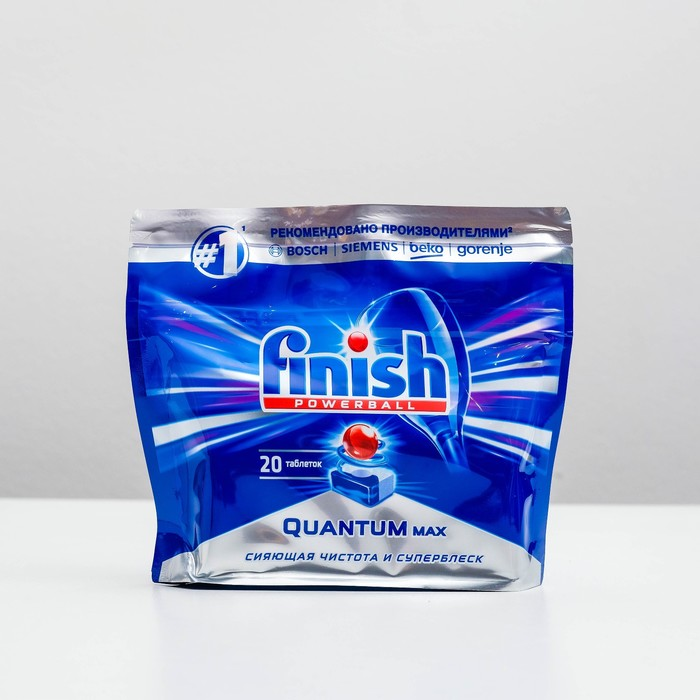 Tablets for washing dishes in dishwashers Finish Quantum PowerBall Shine & Protect, 20 pcs.