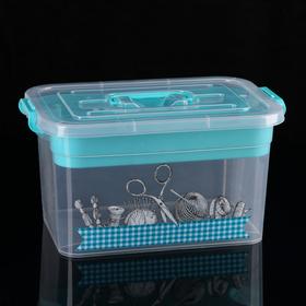 Контейнер для хранения с крышкой и вкладышем Полимербыт «Рукоделие», 10 л, 35×23×19 см, цвет МИКС