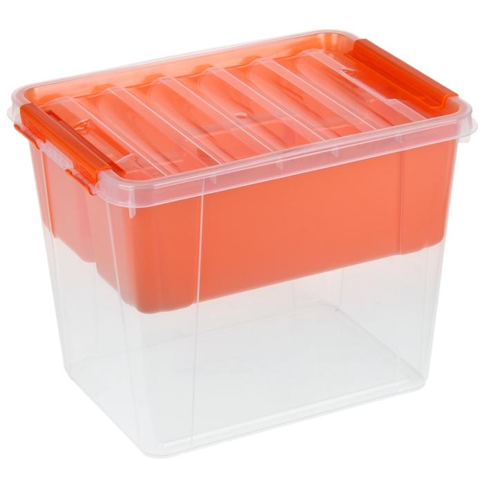 Контейнер для хранения с крышкой и вкладышем Полимербыт «Профи», 25 л, 41×29,5×31 см, цвет МИКС - фото 308334899