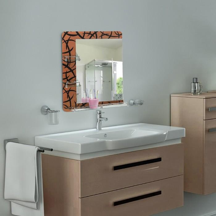 Зеркало в ванную комнату двухслойное 80×60 см Ассоona A632, 3 полки