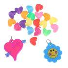 """Подвески для плетения резиночками 20 шт пластиковых и 2 резиновых """"Сердечко, цветочек"""""""