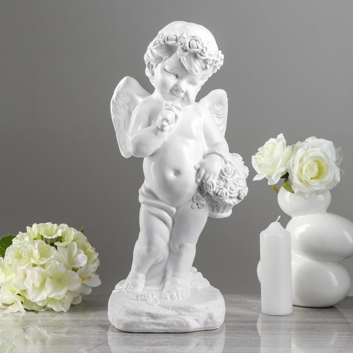 """Статуэтка """"Ангел девочка с корзиной"""" белая, 48 см"""