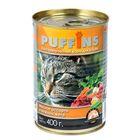 """Влажный корм """"Puffins"""" для кошек, мясное ассорти в нежном желе, ж/б, 400 г"""