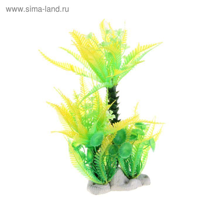 Островок с растениями искусственными для аквариума, 36 х 9 х 27 см