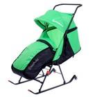 Санки-коляска DamiBaby с 2 колёсиками, цвет зелёный
