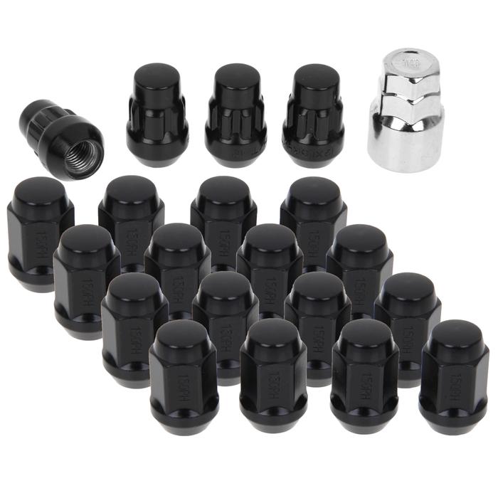 Набор гаек колёсных Anmax, 12х1.5, 35 мм, 16 шт. + 4 секретки + ключ, чёрные