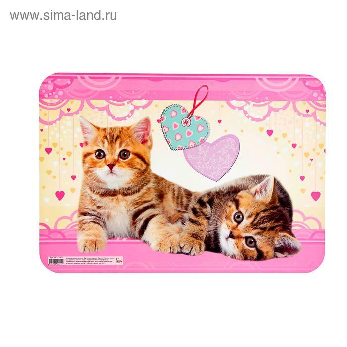 """Настольное покрытие для лепки А4 """"Два котёнка и сердечки"""", пластик"""