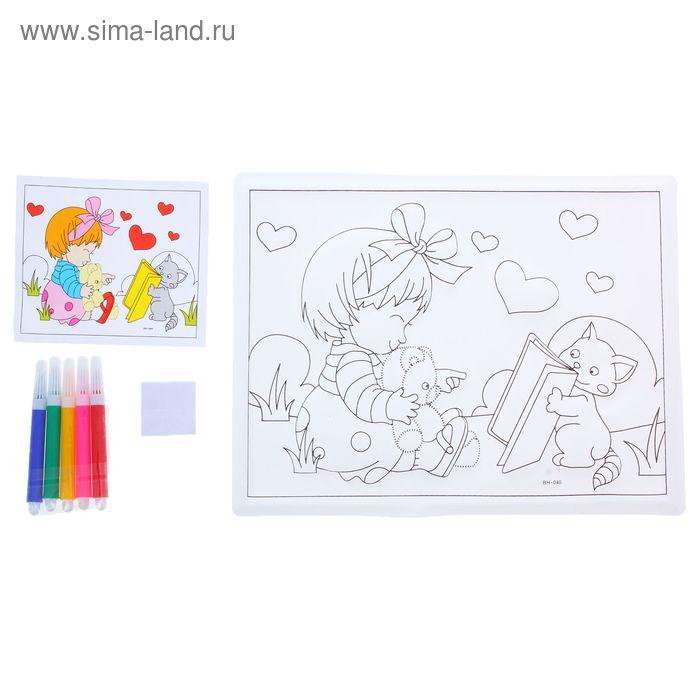 "Раскраска объемная ""Девочка с мишкой"" из пластика с 5 фломастерами"
