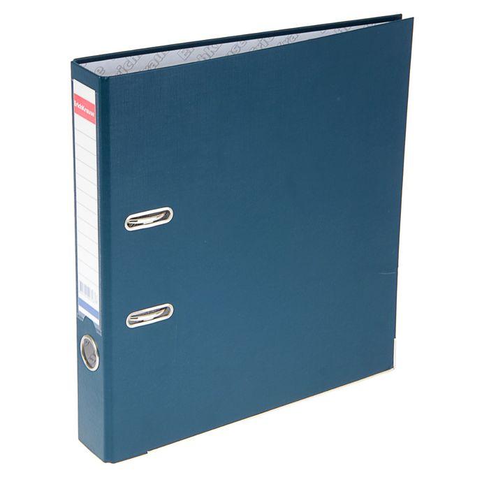 Папка-регистратор А4, 50 мм, «Бизнес», разборный, синий, пластиковый карман, металлический кант, картон 2 мм, вместимость 350 листов