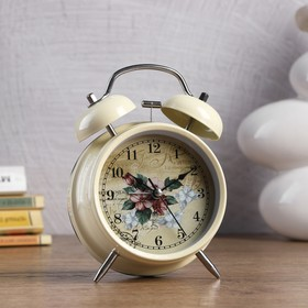 Alarm clock d=11.5 cm, cream/white, on the face of Butterflies, flowers, mix