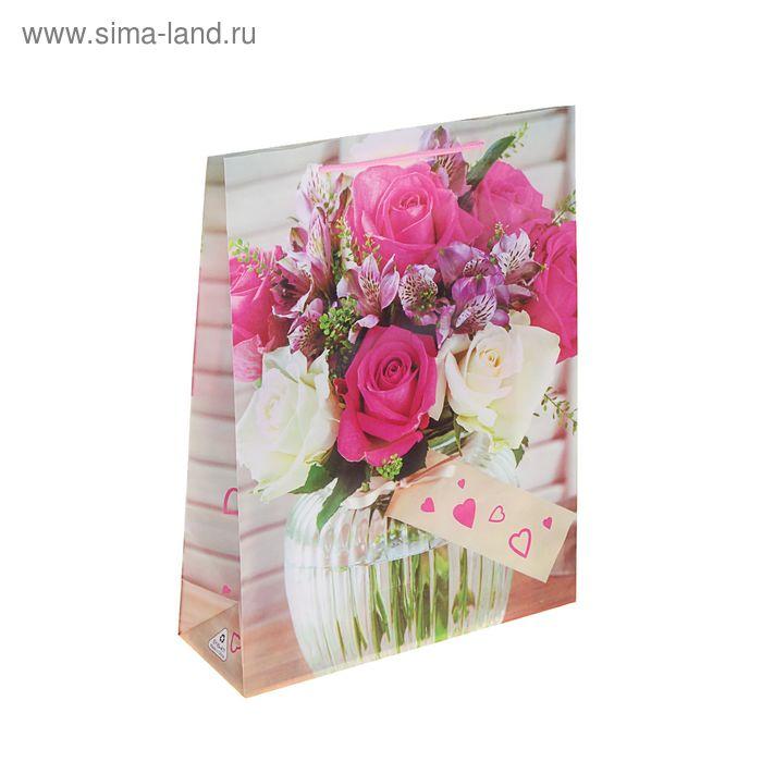 """Пакет пластиковый """"Букет роз в вазе"""""""