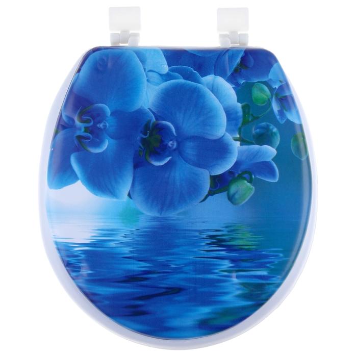Сиденье для унитаза с крышкой «Синяя орхидея», мягкое - фото 4655349