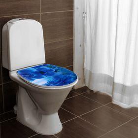 Сиденье для унитаза с крышкой «Синяя орхидея», мягкое - фото 4655350