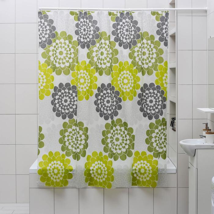 """Штора для ванной 180×180 см """"Зелёные цветы"""", EVA"""