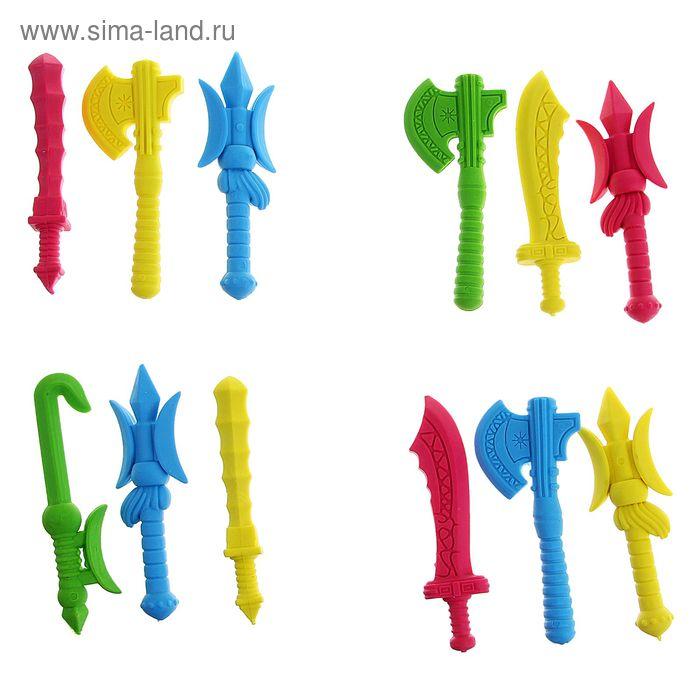 Набор ластиков фигурных 3шт Оружие МИКС в пакете