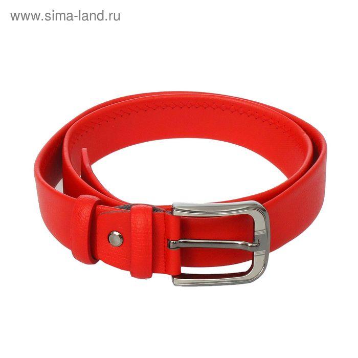 """Ремень женский """"Андреа"""", ширина 3,5см, матовый, винт, пряжка под серебро, цвет красный"""