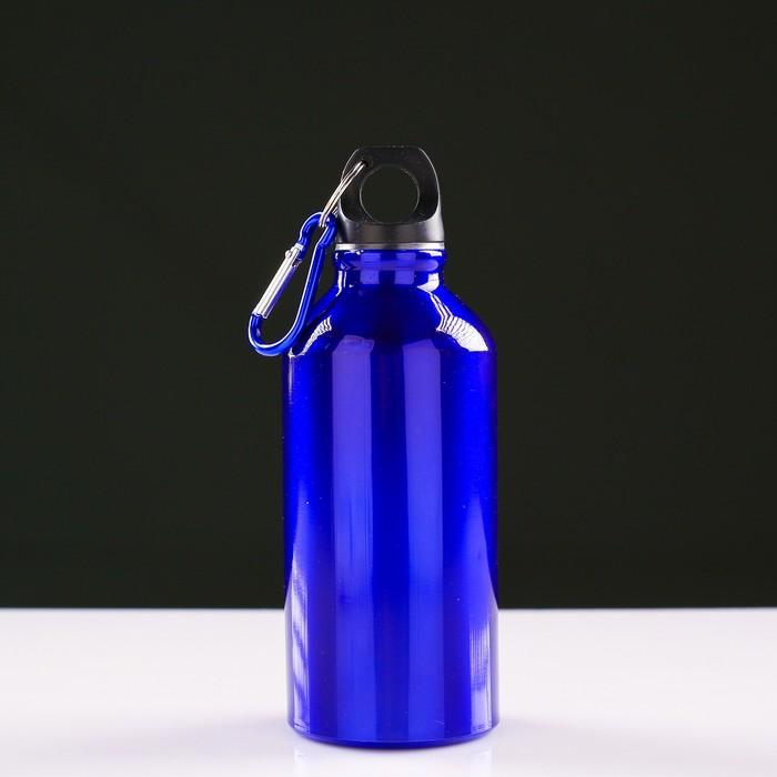 """Фляжка туристическая """"Классика"""" с карабином, 400 мл, синяя,  7х15 см"""